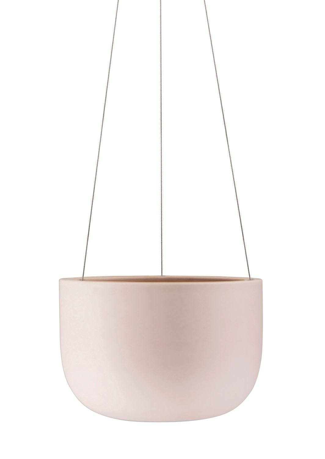 Raw Earth Hanging Planter Rock Salt Pink