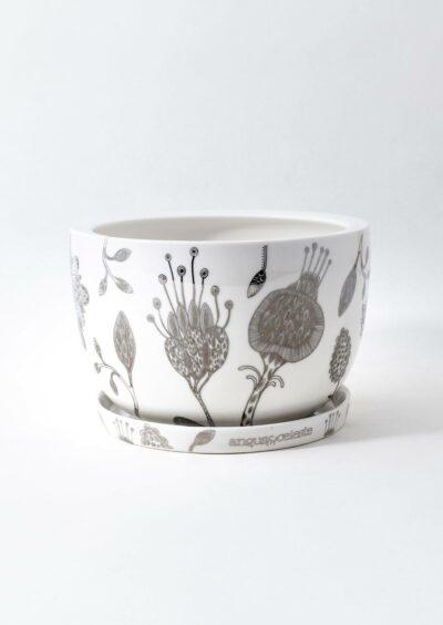 Decorative Plant Pot Silver Garden
