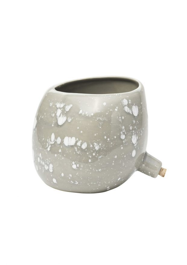 Spouted Plant Pot Grey Crystal