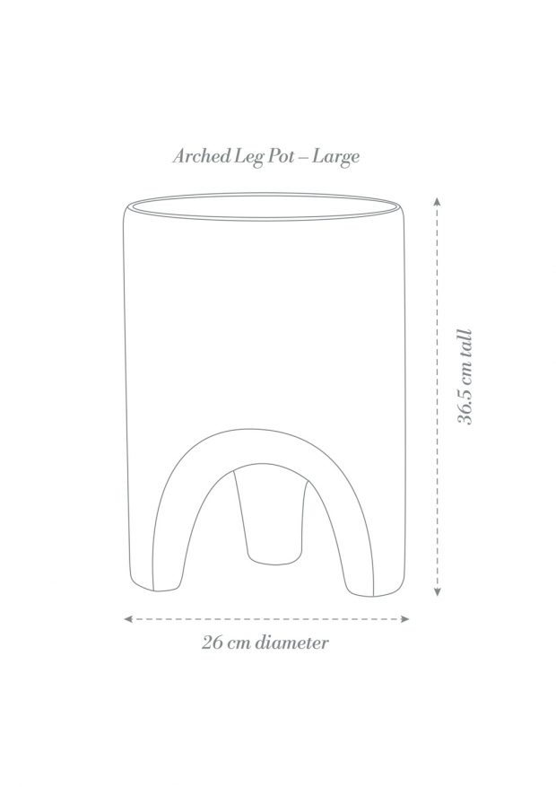 Arched Leg Pot Large Product Diagram A