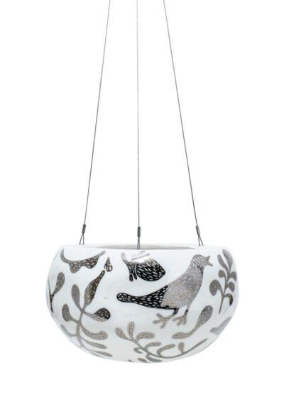 Decorative Pebble Hanging Planter Silver Serpent