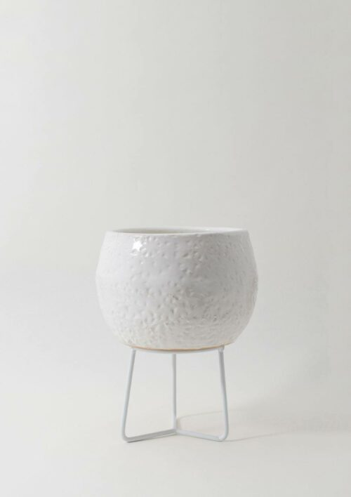 Hand-Thrown Boulder Pot - Small, White