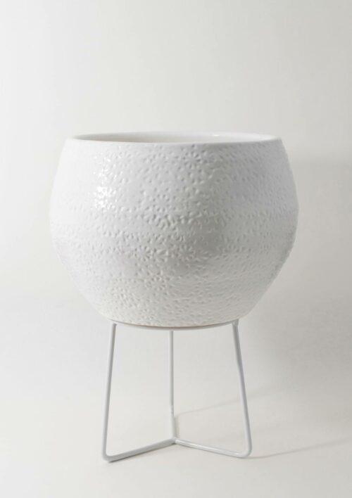 Hand-Thrown Boulder Pot - Large, White