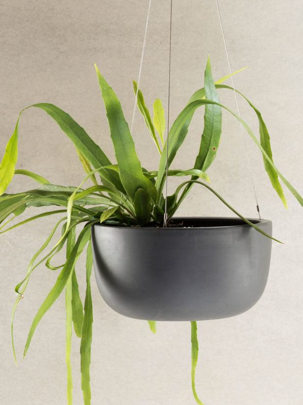 Angus & Celeste Raw Earth Hanging Planter Charcoal Large