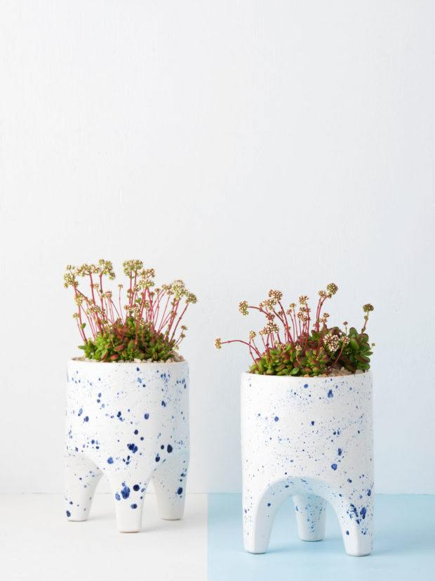 Angus & Celeste Arched Leg Plant Pot Blue Crystal