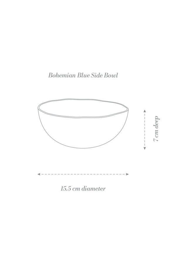 Bohemian Blue Dinner Set Side Bowl Product Diagram