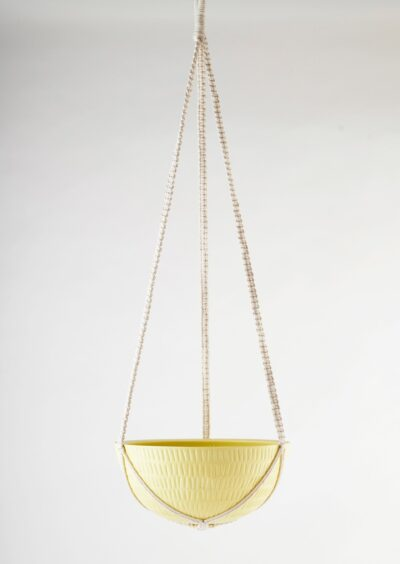Angus & Celeste Macrame Hanging Planter Large Yellow