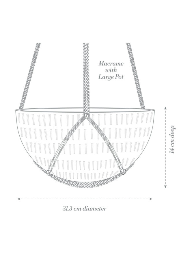 Macrame Hanging Planter Large Product Diagram