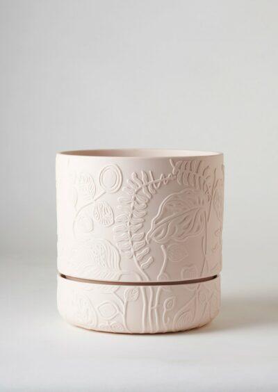 Angus & Celeste Folia Relief Plant Pot Soft Pink