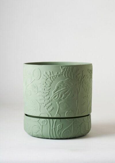 Angus & Celeste Folia Relief Plant Pot Olive Green