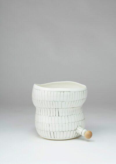 Angus & Celeste Plant Pod Pourer Pot Grey Lines Small