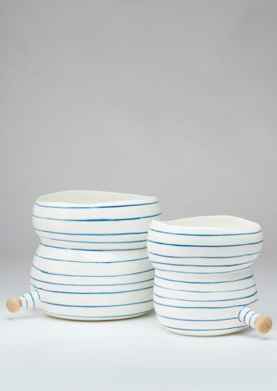 Angus & Celeste Plant Pod Pourer Pot Blue Lines Pair