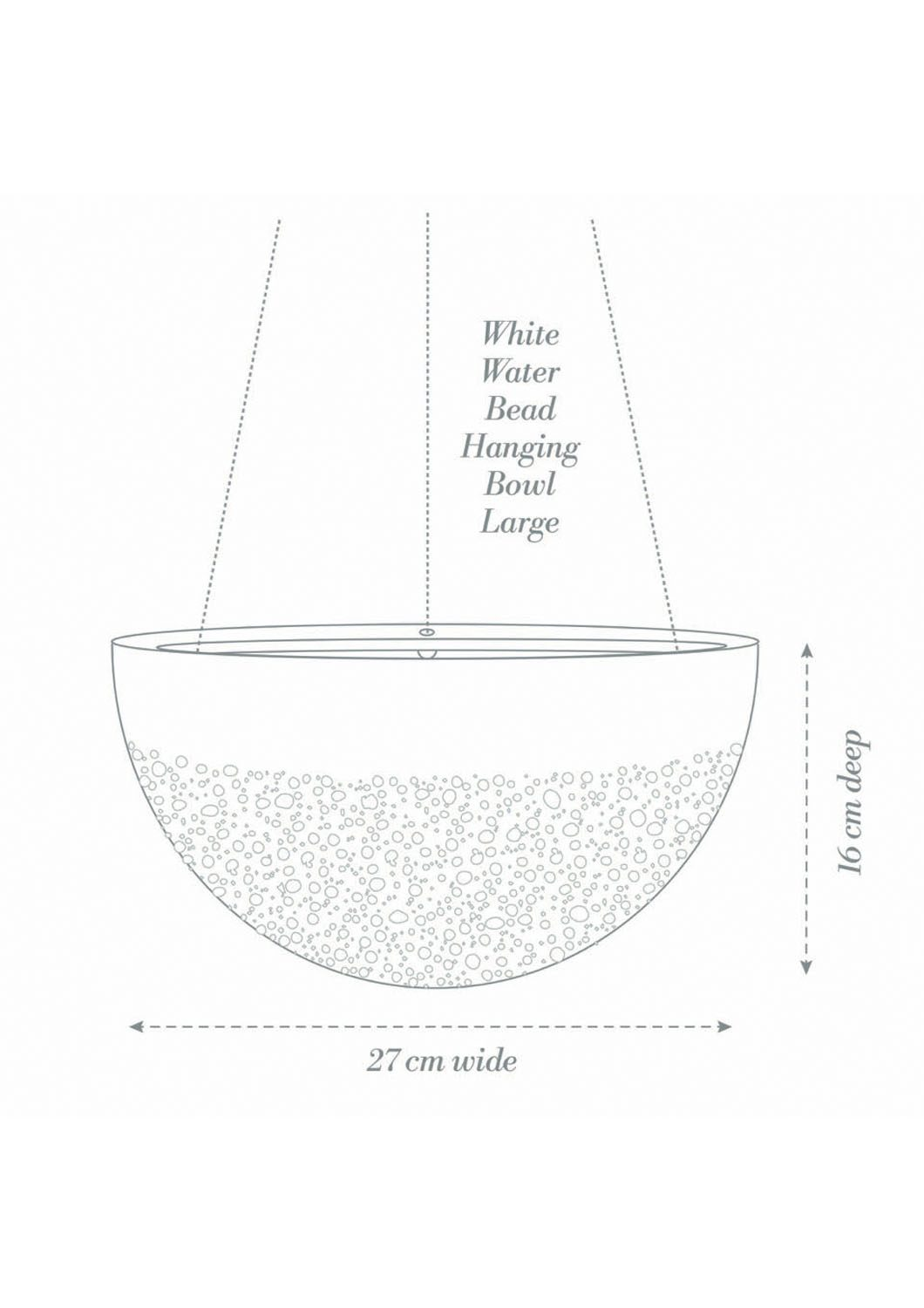 Angus & Celeste White Water Bead Hanging Planter Large Product Diagram