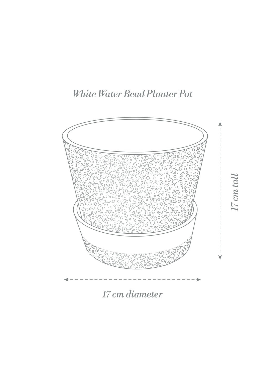 Angus & Celeste White Water Bead Planter Pot Product Diagram