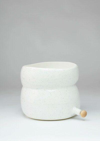 Angus & Celeste Plant Pod Pourer Pot White Speckle Large