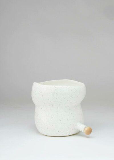 Angus & Celeste Plant Pod Pourer Pot White Speckle Small