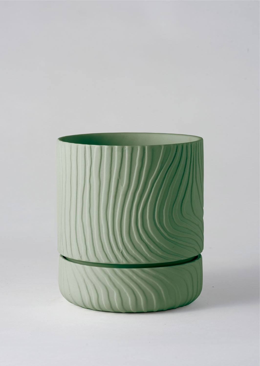 Angus & Celeste Abstract Relief Plant Pot - Brush Line Thin Olive Green