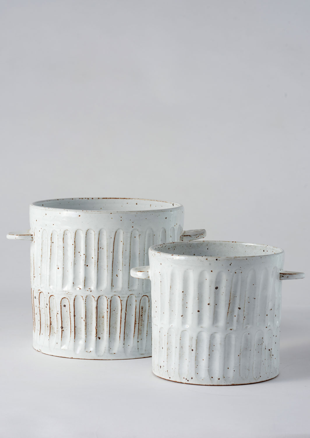 Angus & Celeste Milk Wash Artisan Planter Vertical Lines Set