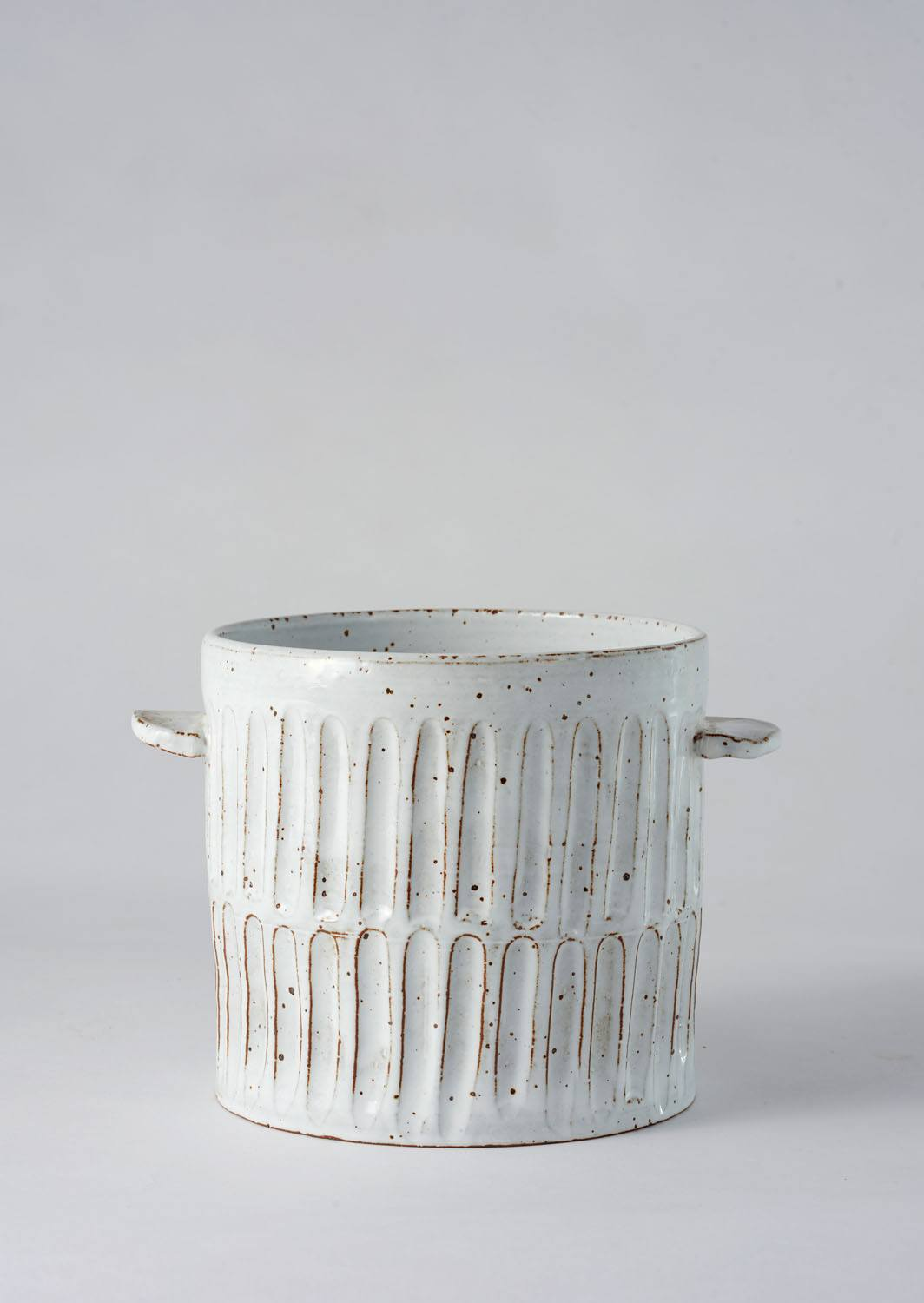 Angus & Celeste Milk Wash Artisan Planter Large Vertical Lines