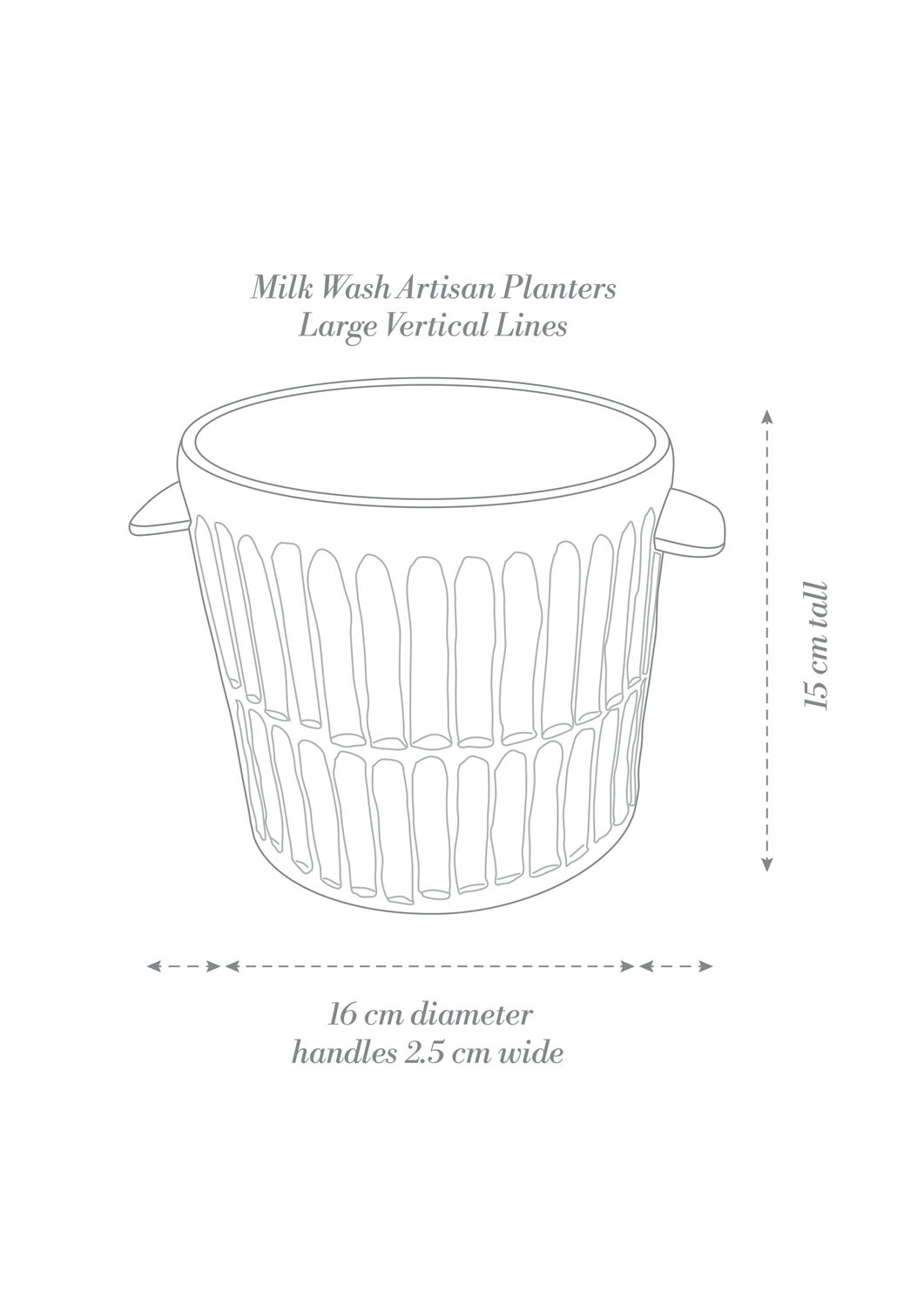 Angus & Celeste Milk Wash Artisan Planter Large Vertical Lines Product Diagram