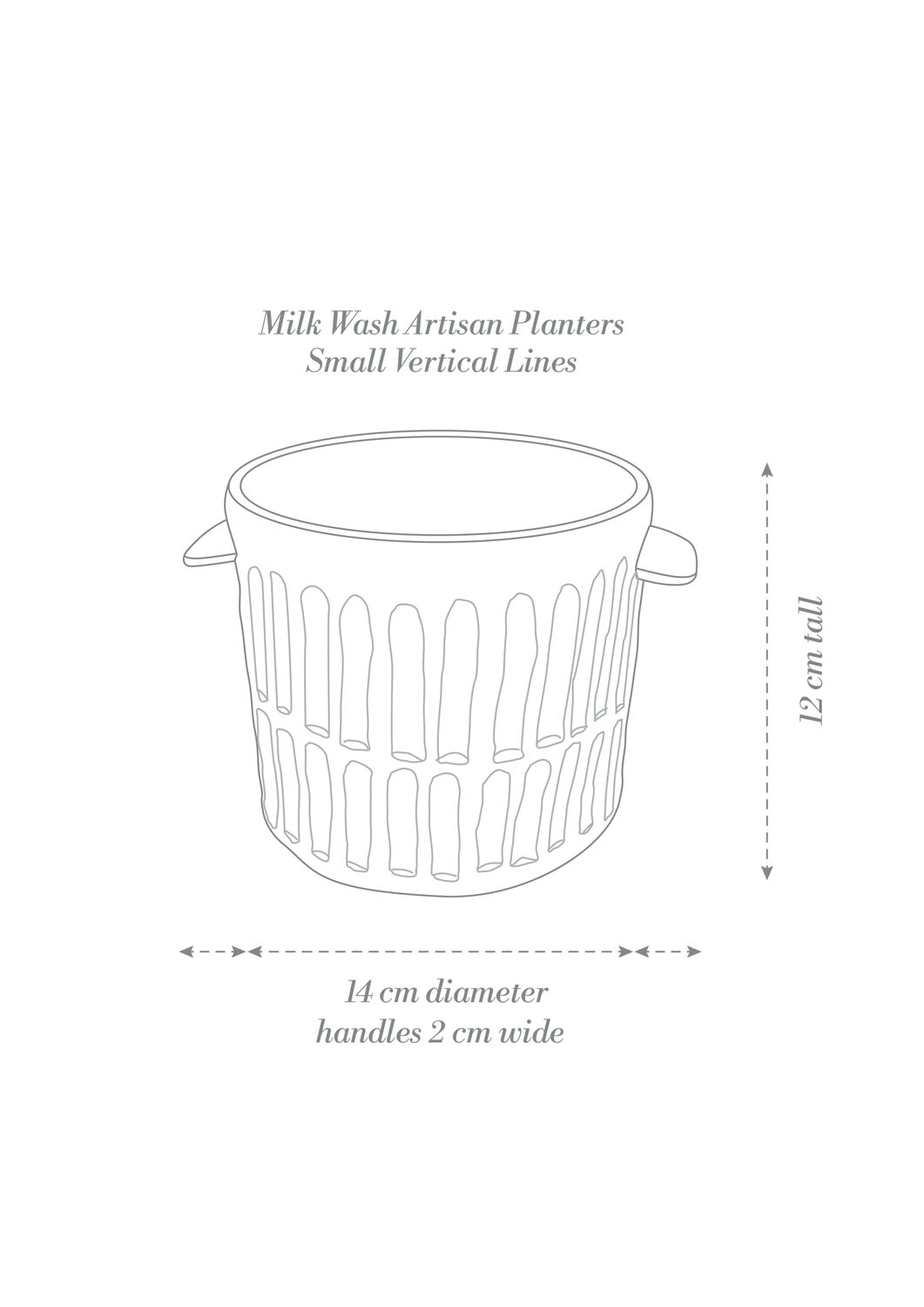 Angus & Celeste Milk Wash Artisan Planter Small Vertical Lines Product Diagram