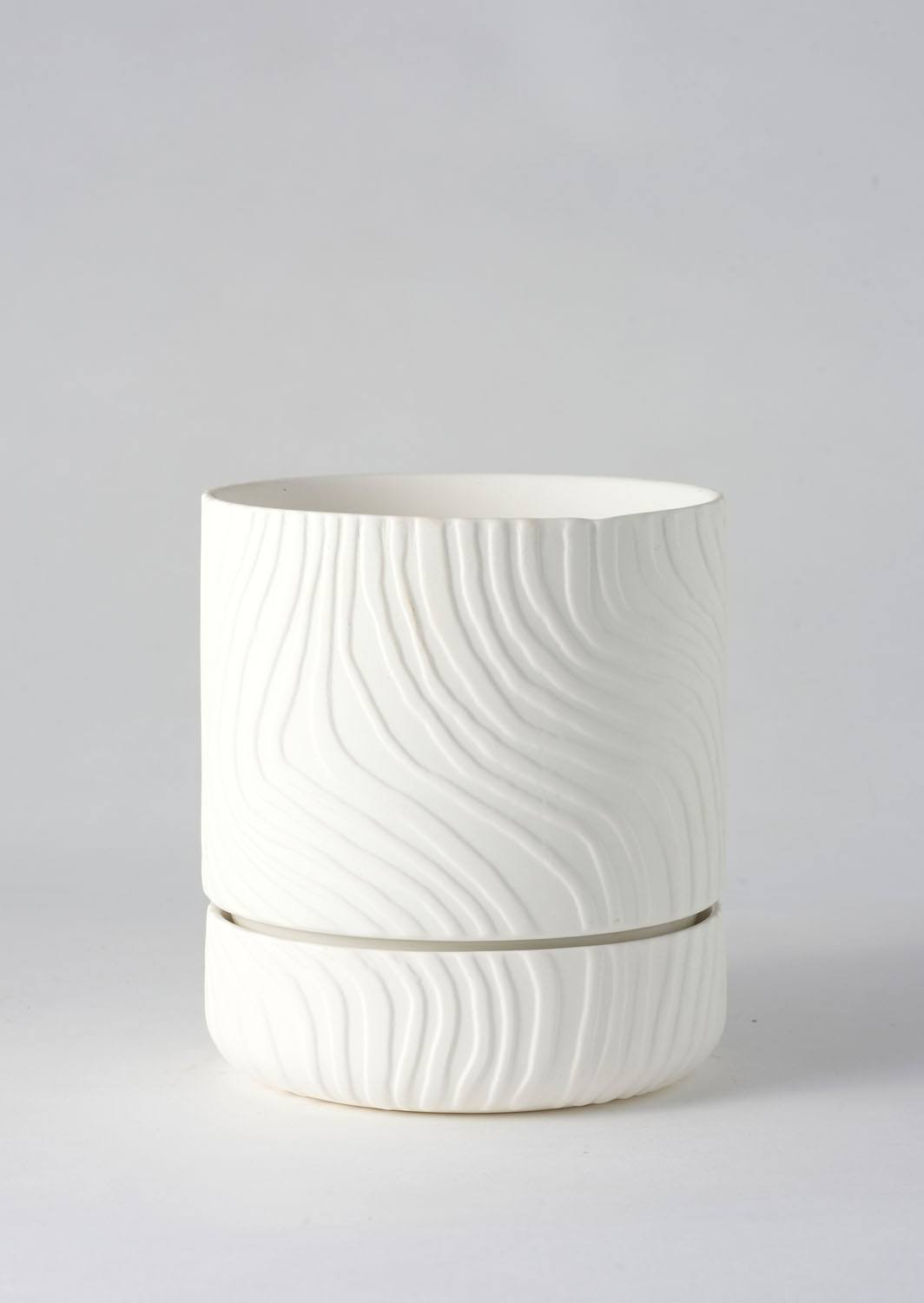 Angus & Celeste Abstract Relief Plant Pot - Brush Line Thin White
