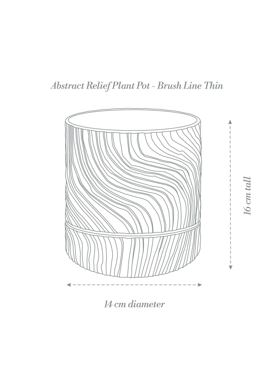 Abstract Relief Plant Pot - Brush Line Thin Product Diagram