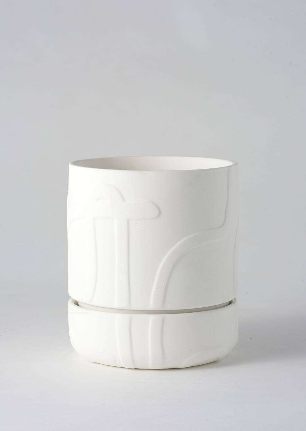 Angus & Celeste Abstract Relief Plant Pot - Brush Line Thick White