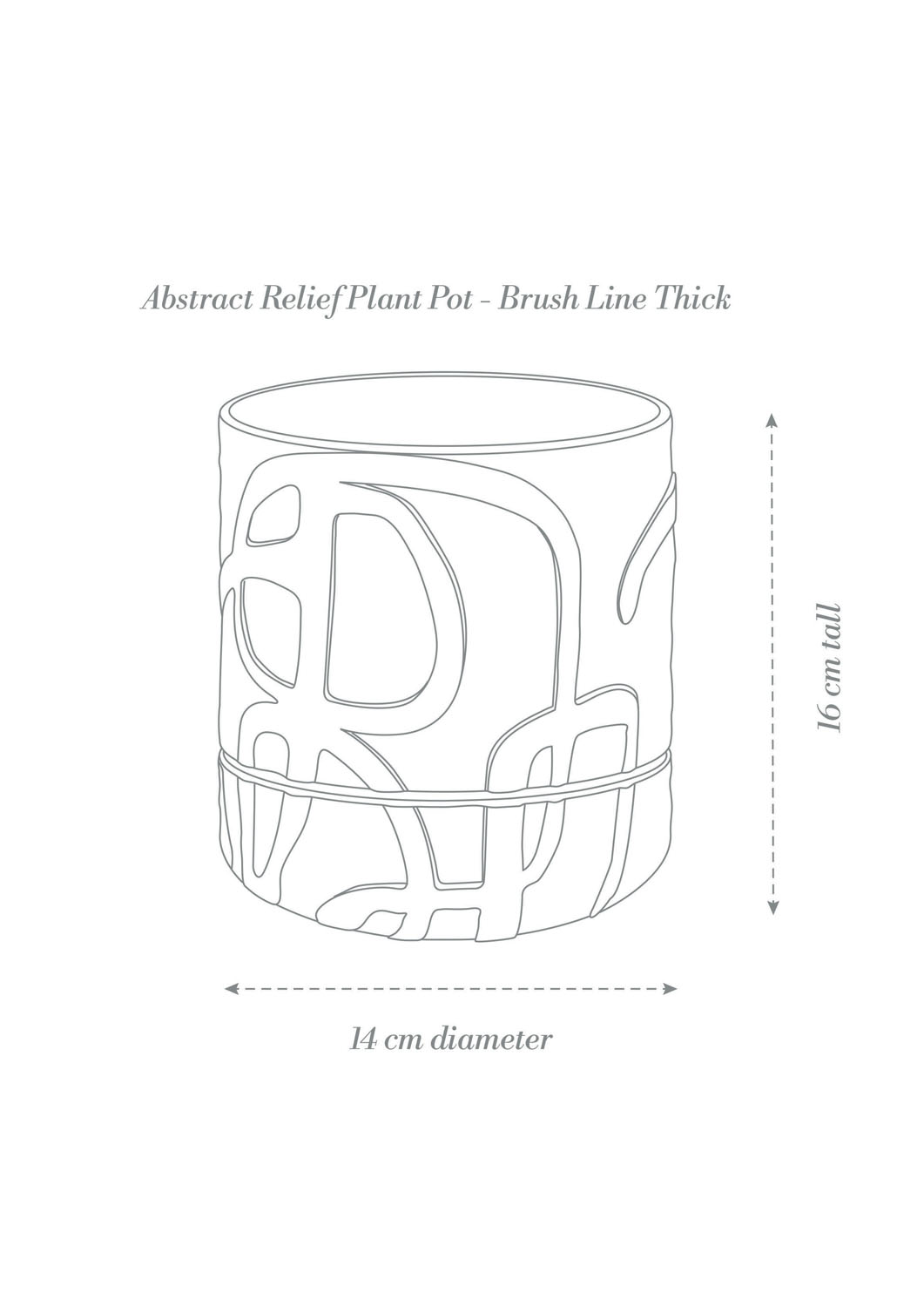 Abstract Relief Plant Pot - Brush Line Thick Product Diagram