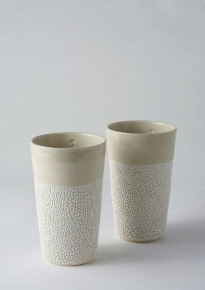 Angus & Celeste White-Water Bead Tumblers Pair