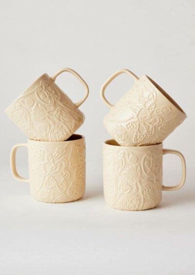 Angus & Celeste Imaginary Botanical Mugs Clay Set of Four