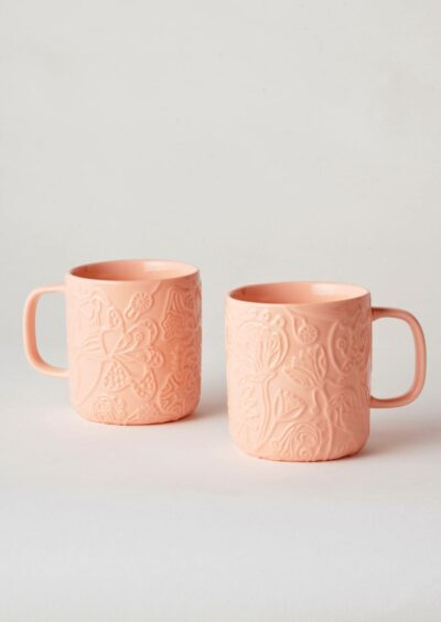 Angus & Celeste Imaginary Botanical Mugs Coral Pair