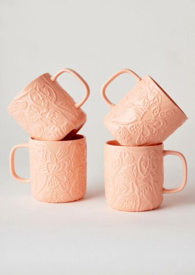 Angus & Celeste Imaginary Botanical Mugs Coral Set of Four