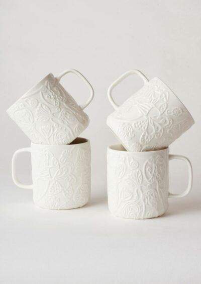 Angus & Celeste Imaginary Botanical Mugs White Set of Four