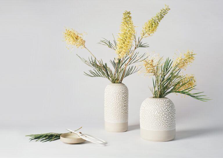 White-Water Bead Bud Vases