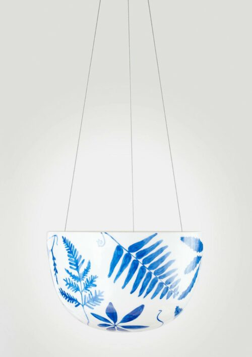Decorative Hanging Planter - Blue Botanical