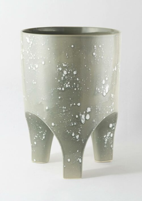 Large Arched Leg Plant Pot - Made to Order - Grey Crystal