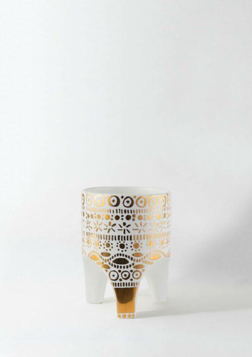 Arched Leg Plant Pot - Gold Crown