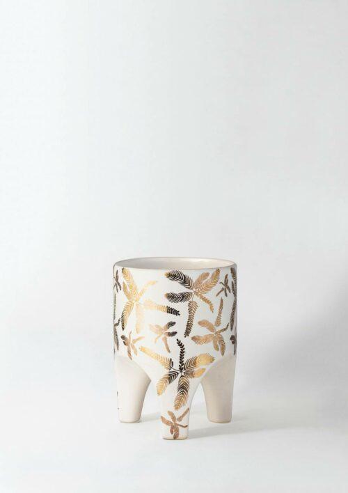 Arched Leg Plant Pot - Golden Tropical