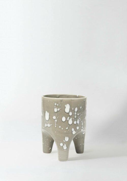 Arched Leg Plant Pot - Grey Crystal