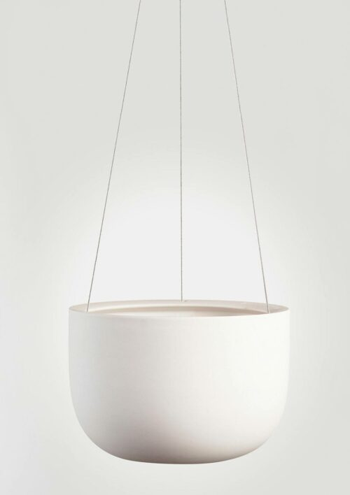 Raw Earth Hanging Planter - Chalk White, Mid