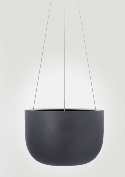 Raw Earth Hanging Planter - Charcoal, Mid