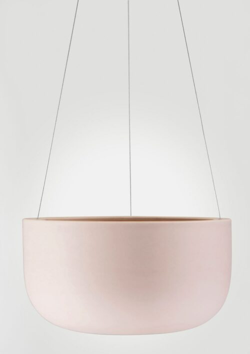 Raw Earth Hanging Planter - Rock Salt Pink, Large