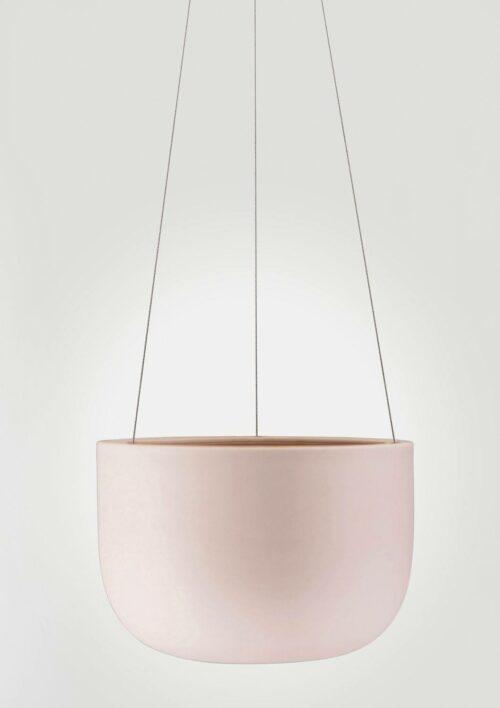 Raw Earth Hanging Planter - Rock Salt Pink, Mid