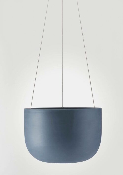 Raw Earth Hanging Planter - Slate Blue, Mid